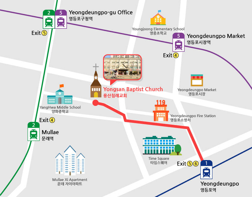 Directions from Line one Yeongdeunpo station